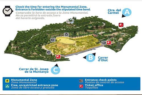Mappa del Park Güell