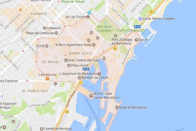 L'area compresa nella Ciutat Vella