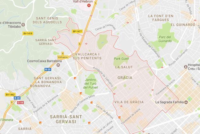 L'area del Distretto di Gracia