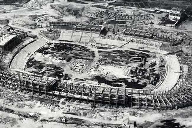 Foto originale della costruzione del Camp Nou