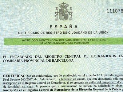 NIE VERDE: certificato di residenza