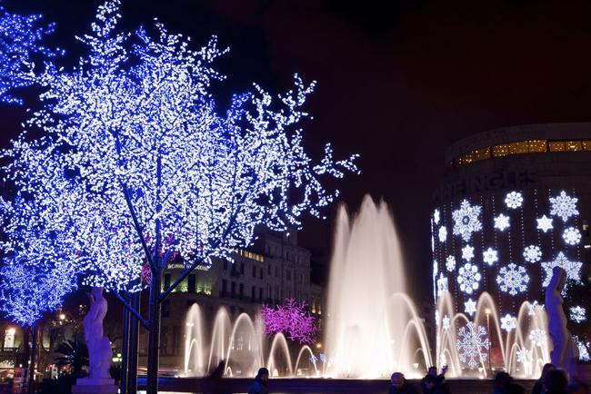 Plaza Catalunya en el periodo natalicio