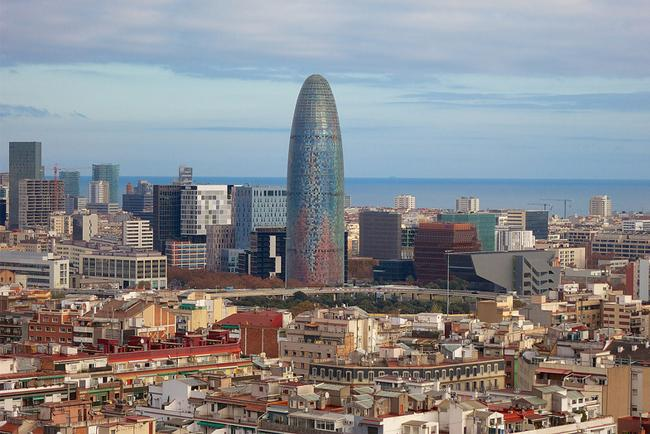 View of the city and the Torre Agbar