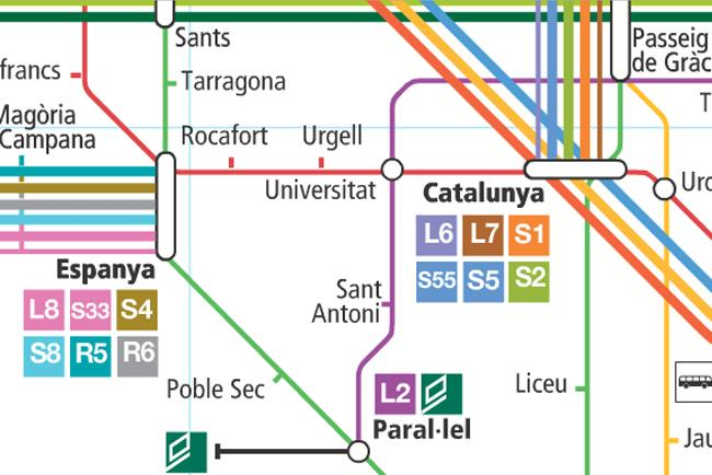Mappa dei mezzi di Barcellona